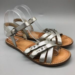 Kelsi Dagger Brooklyn metallic silver flat sandals